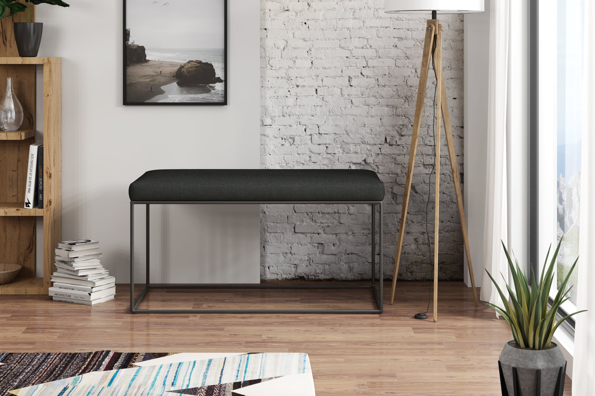 Banquette - Collection Gloire - 45 x 90 x 47 cm - Gris Anthracite