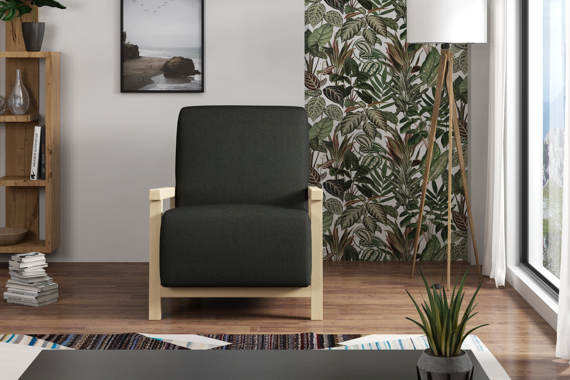 Fauteuil - Collection Art - 63 x 96 x 72 cm - Gris anthracite