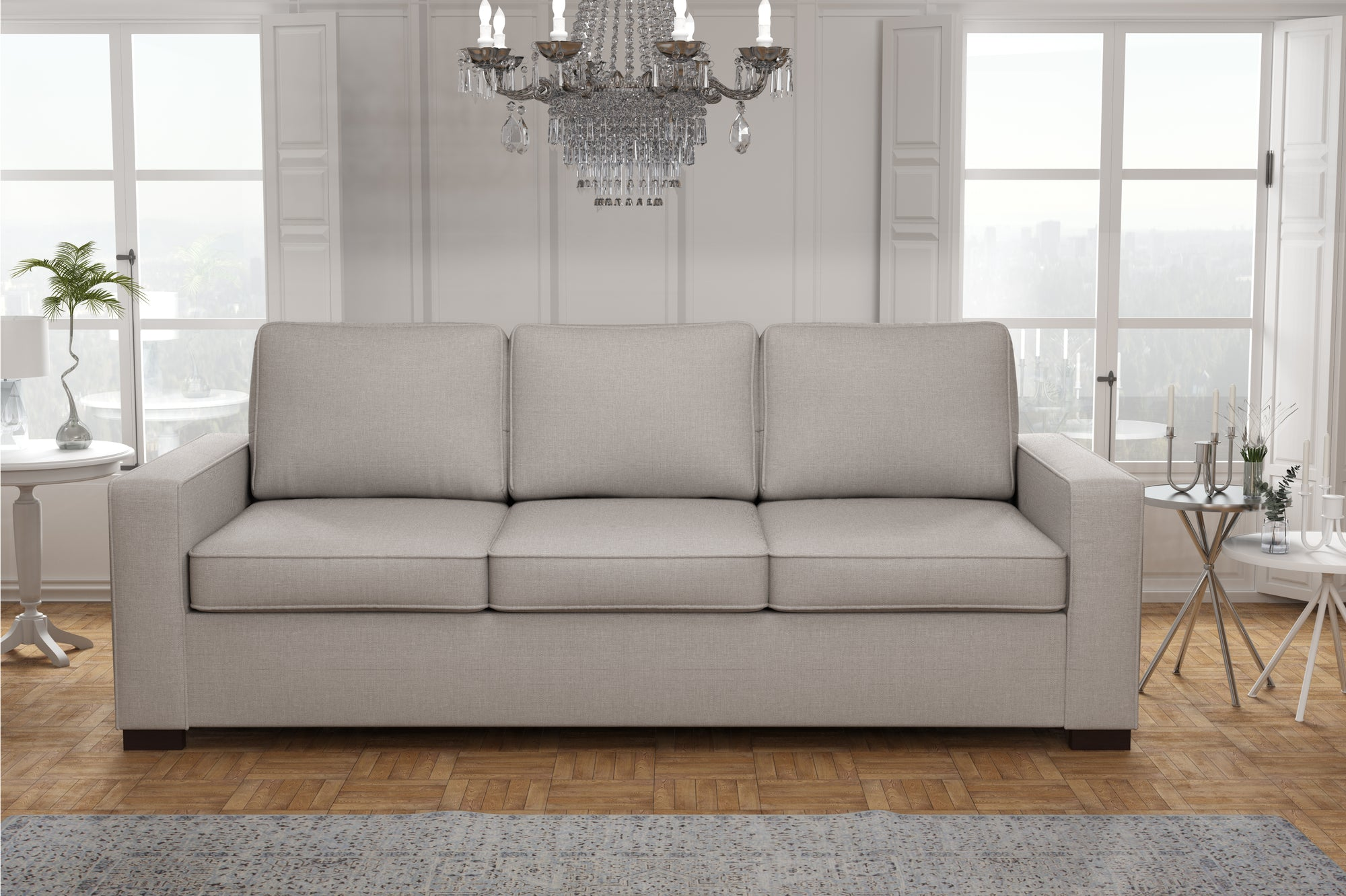 Canapé 3 places -  227 x 85 x 90 cm - Collection Prestige - Gris Clair
