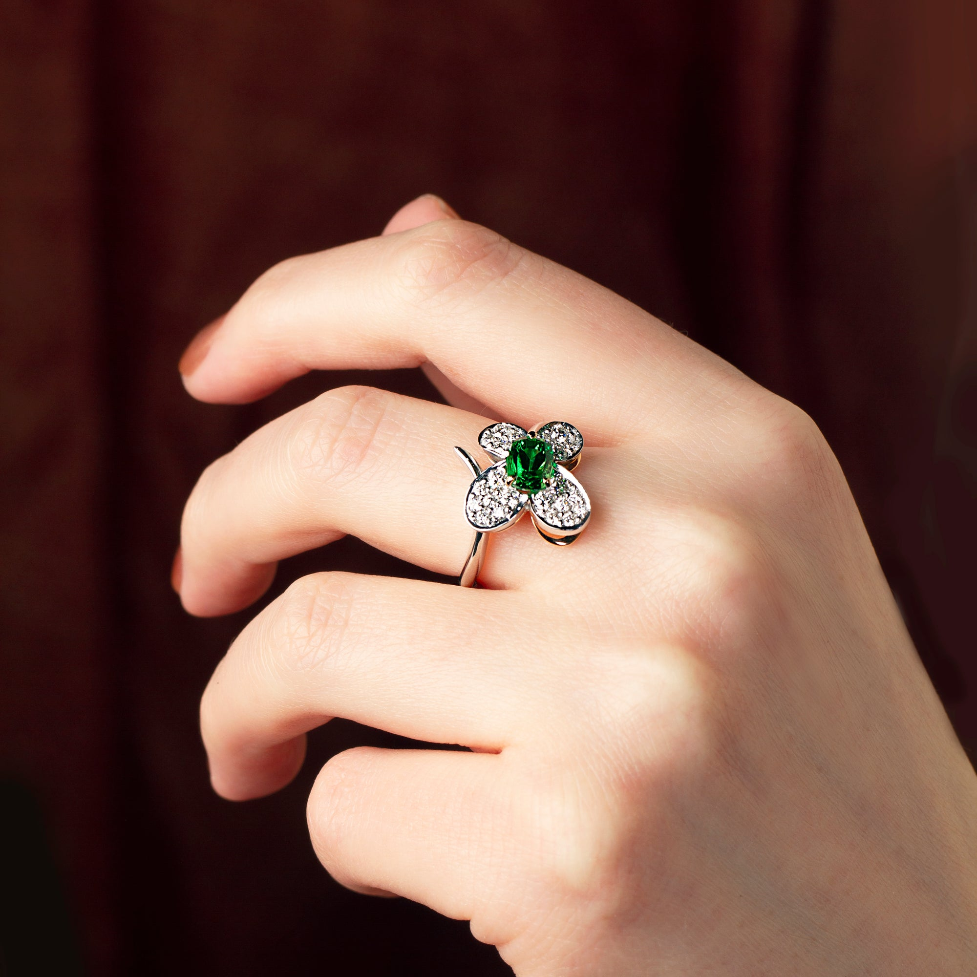 Butterfly Tsavorite Ring