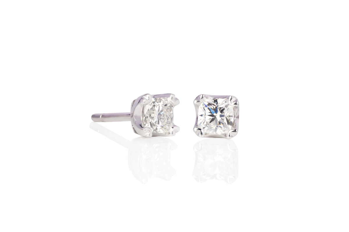 Canadian Ideal Square Cushion Cut Diamond Stud Earrings in 18 ct white gold