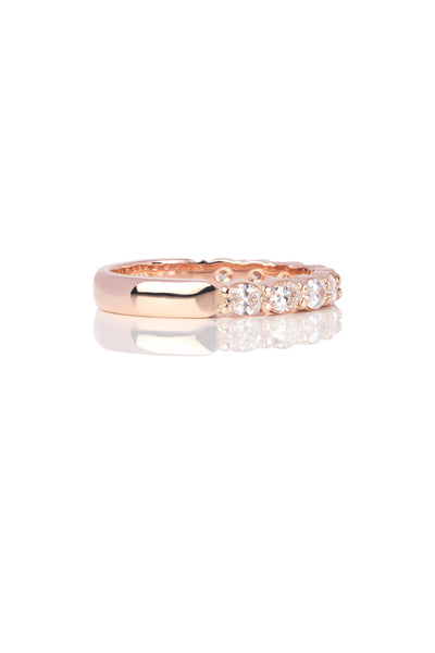 East-West Set Rose Gold Oval Diamond Band