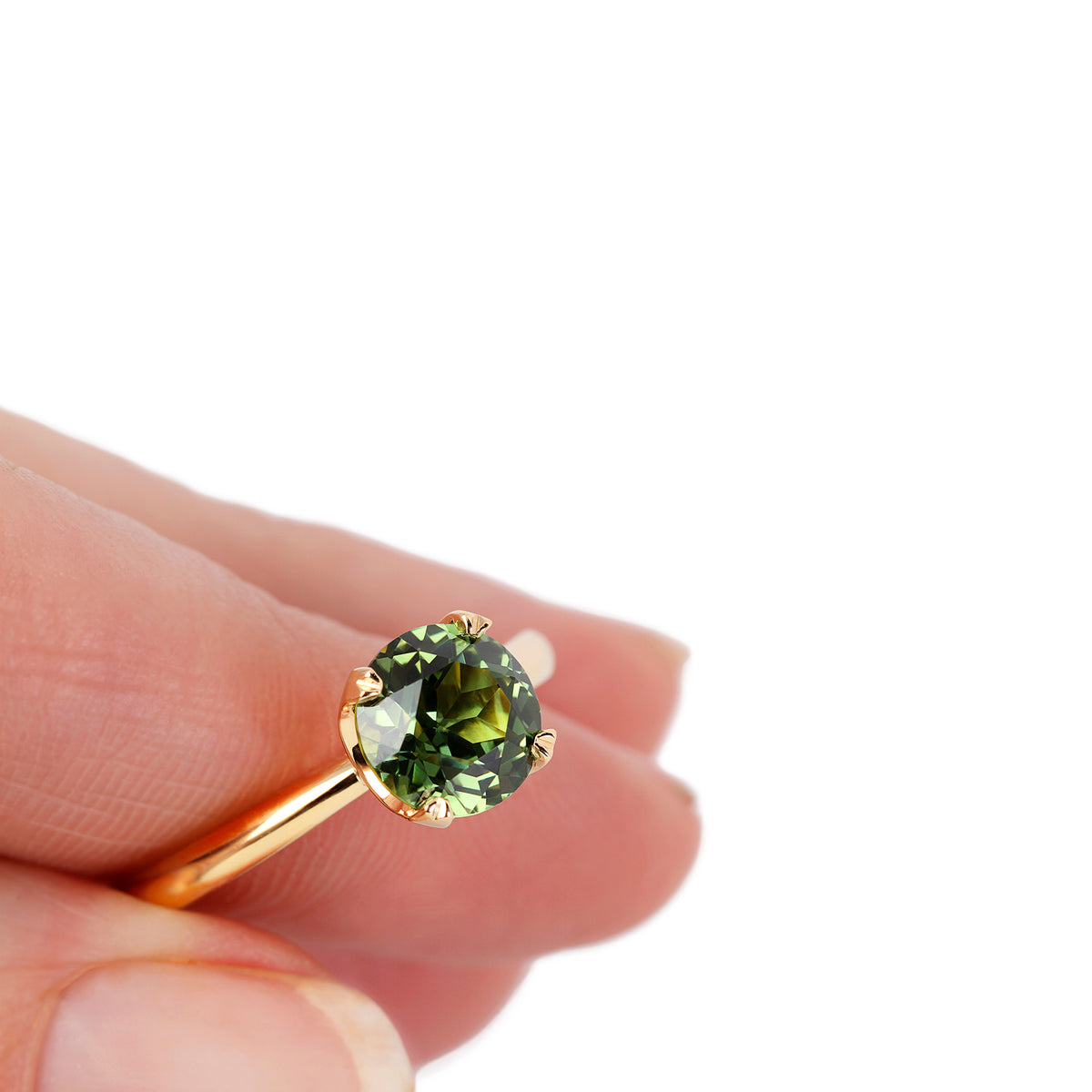 Custom Australian Green Sapphire Engagement Ring