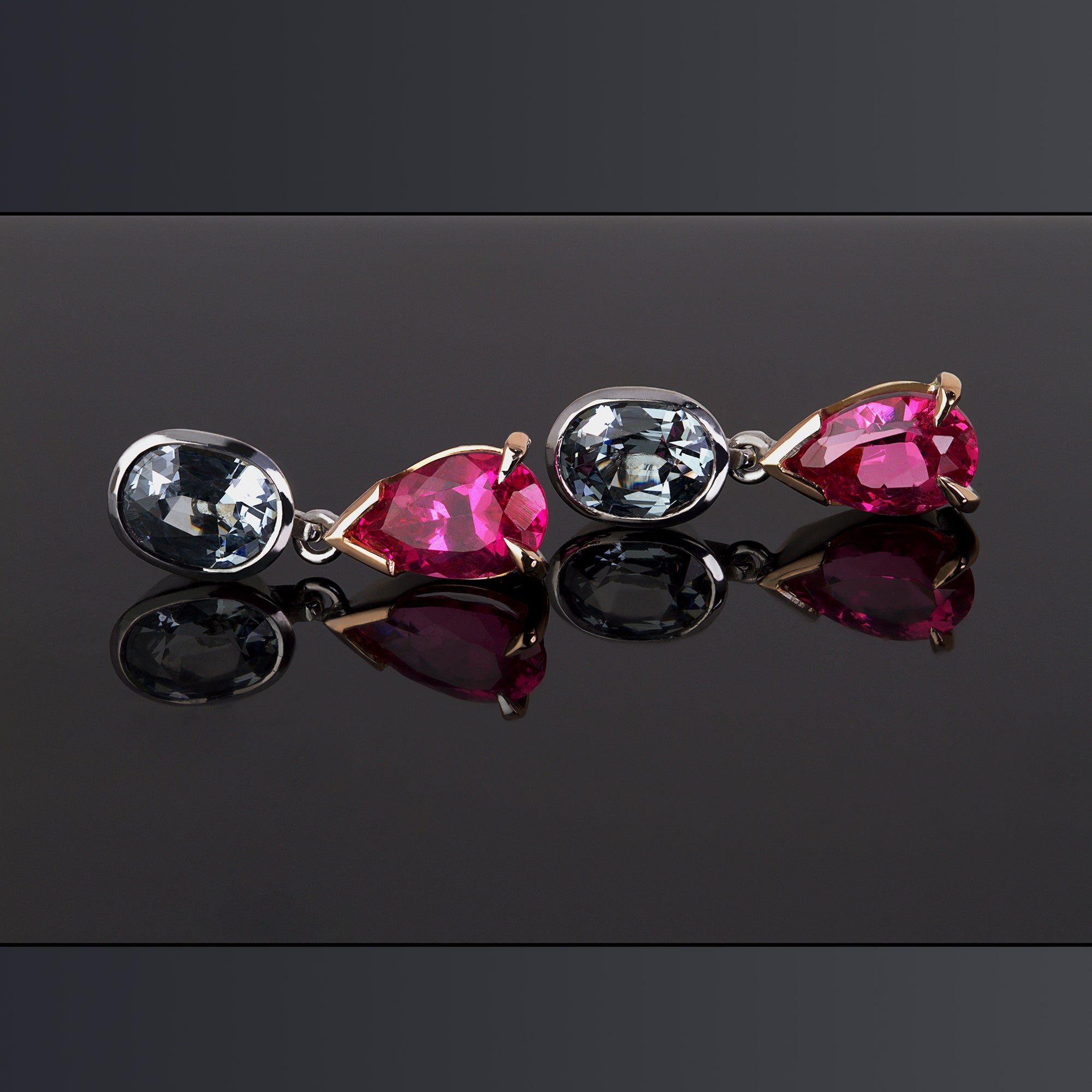 Mahenge Pink Spinel & Grey Spinel Earrings