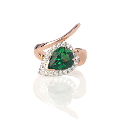 Chrome Tourmaline & Diamond Serpent Ring