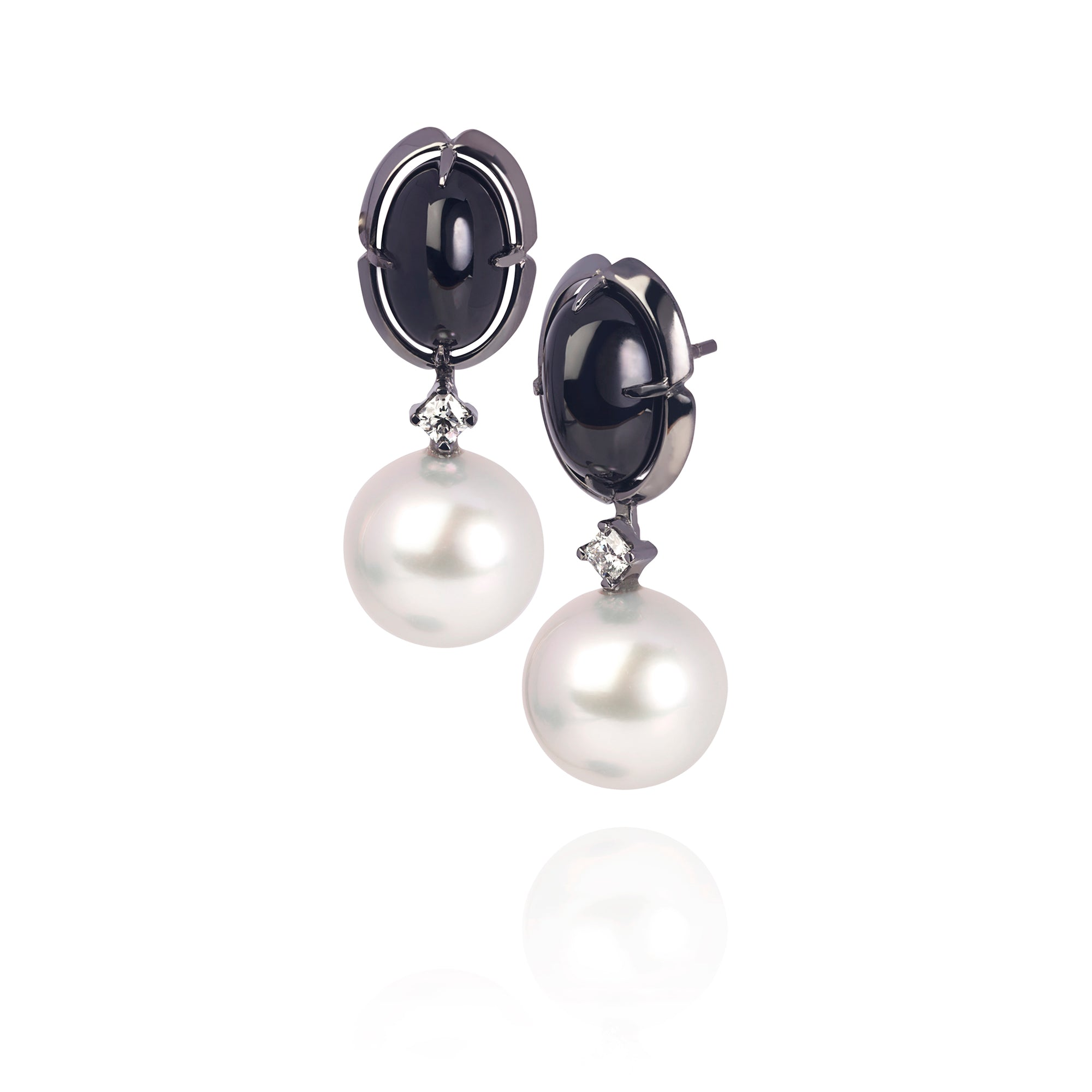 Black Spinel and Australian South Sea Pearl Earrings