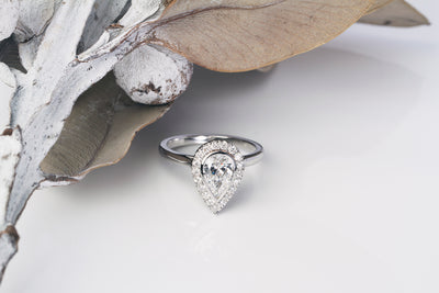 Custom Pear Shape Halo Diamond Engagement Ring