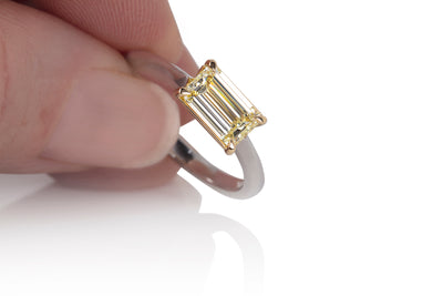 East-West Fancy light yellow Diamond Engagement Ring