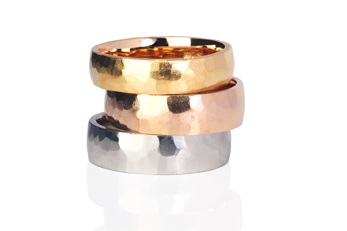 Hand Plenished Mens Wedding Band available in 18ct Gold and Platinum