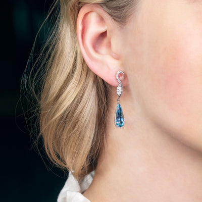 Bespoke Aquamarine & Diamond Earrings