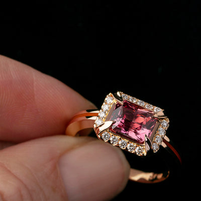 Custom Madagascan Cinnamon Sapphire and Diamond ring