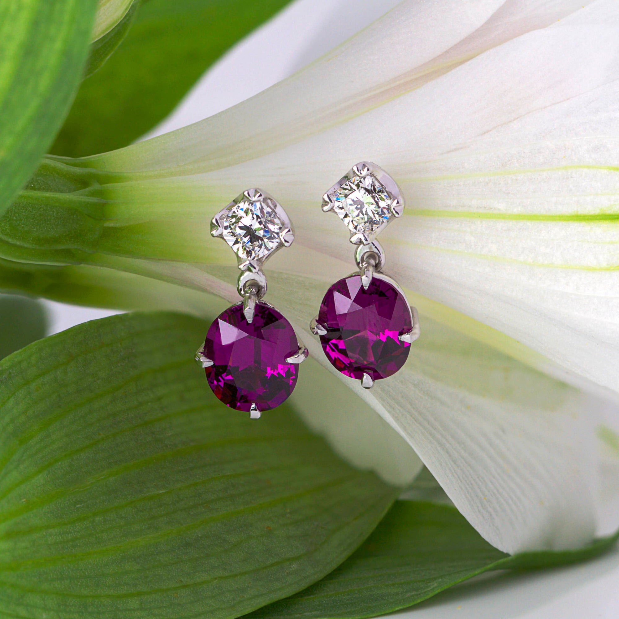 Purple Rhodolite Garnet and Diamond earrings