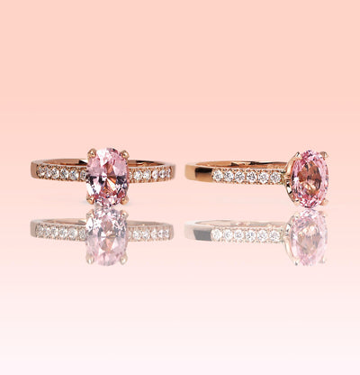 Custom Peachy/Pink Sapphire Engagement ring.