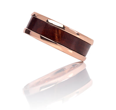 18ct Rose Gold Men's Band with Flame She-oak Timber Inlay