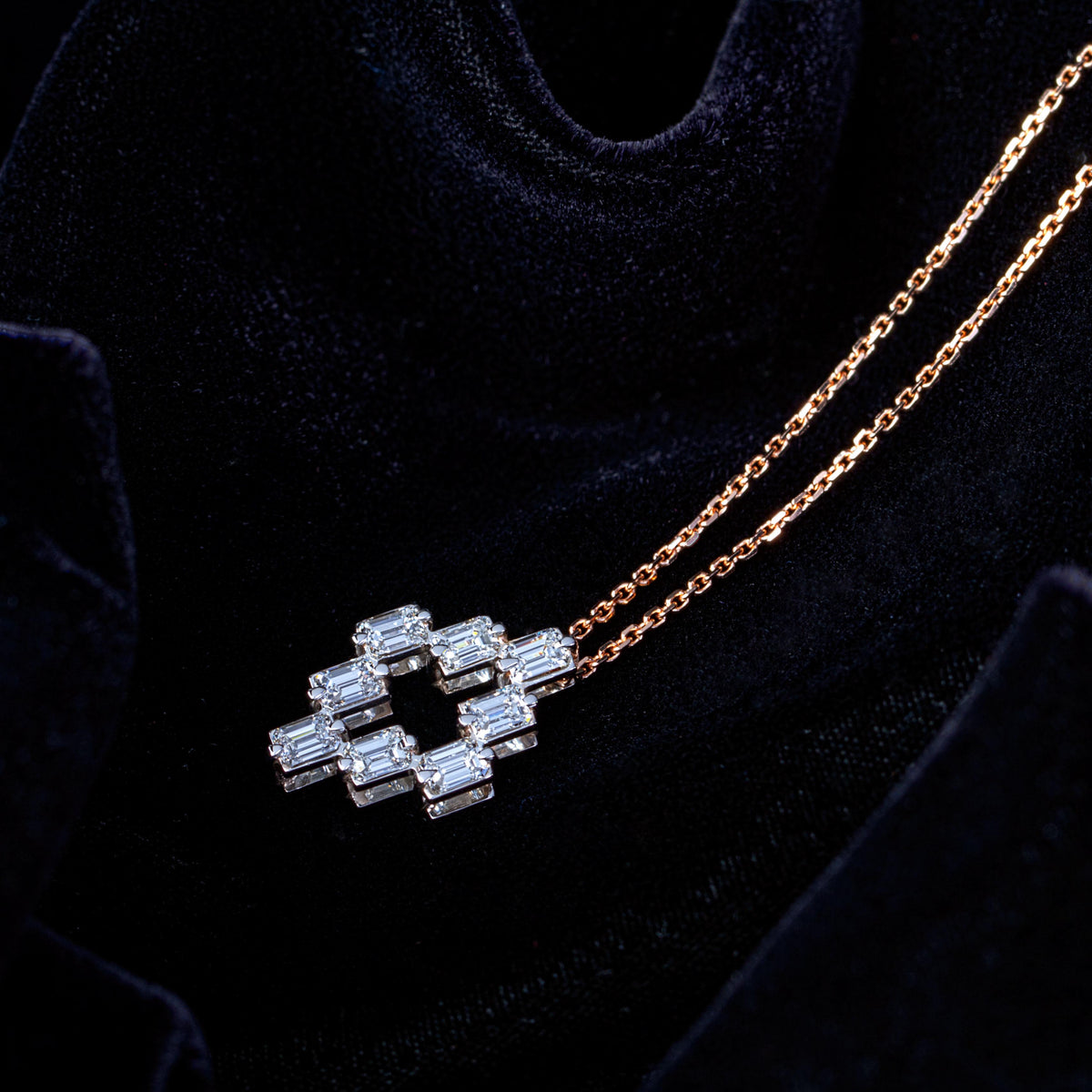Emerald Cut Internal Cross Diamond pendent