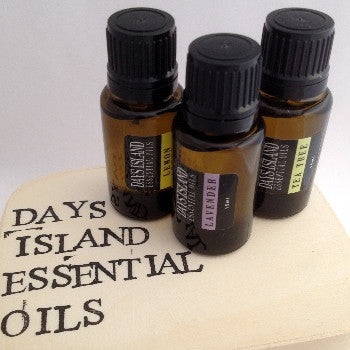 Days Island Essential Oils Starter Kit: 15ml each Lavender, Tea Tree, and Lemon essential oils