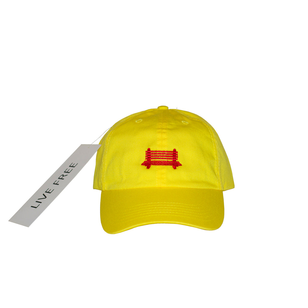 f. Yellow/Red Logo Cap