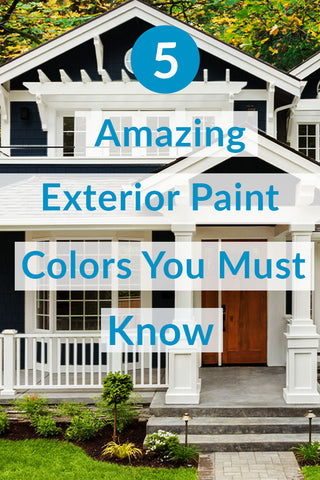 beautiful painted blue home with text overlay