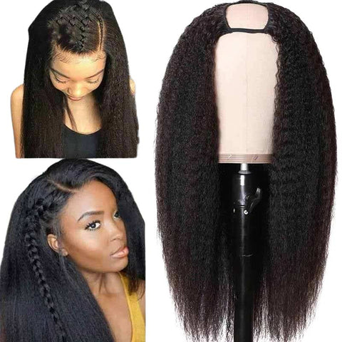U Part Wig <br> Mèches Kinky Straight, Virgin Hair et Tissage Brésilien