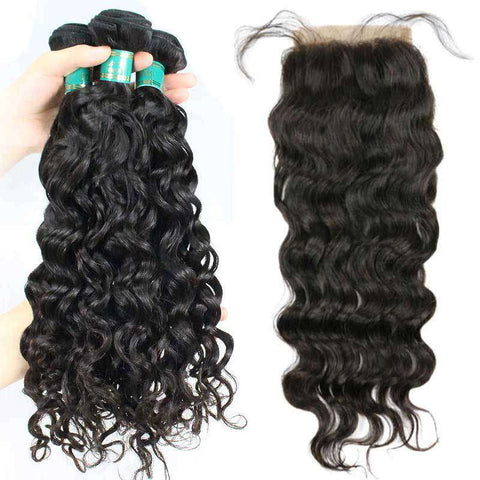 Tissage Cheveux Water Wave et Lace Closure <br> Cheveux Water Wave, Virgin Hair et Tissage Brésilien