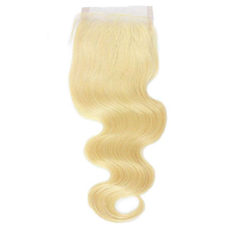 Lace Closure 4x4<br>Couleur Blonde | Ondulé | Remy<br>Tissage Brésilien