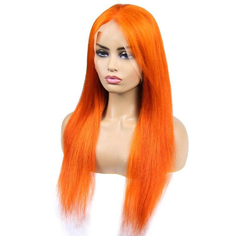 Perruque Orange Halloween <br> Forme Lisse, Remy Hair et Tissage Brésilien
