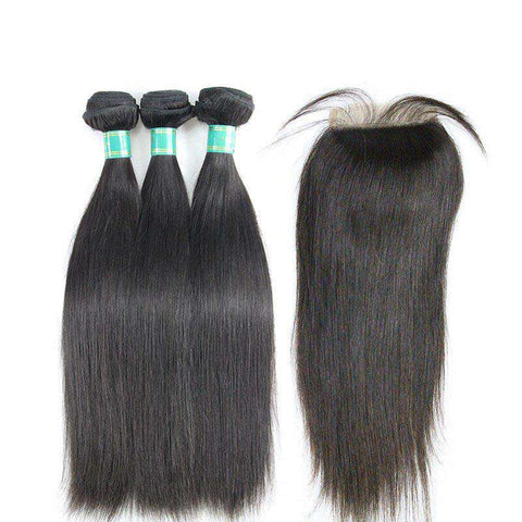 Tissages Lisses et Lace Closure 4x4 <br> Cheveux Lisses, Virgin Hair et Tissage Brésilien