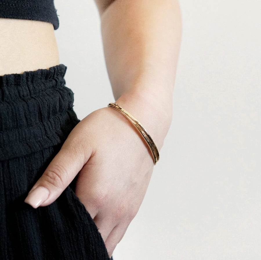 Silver Hammered Cuff Bracelet - Dainty & Co. Jewelry