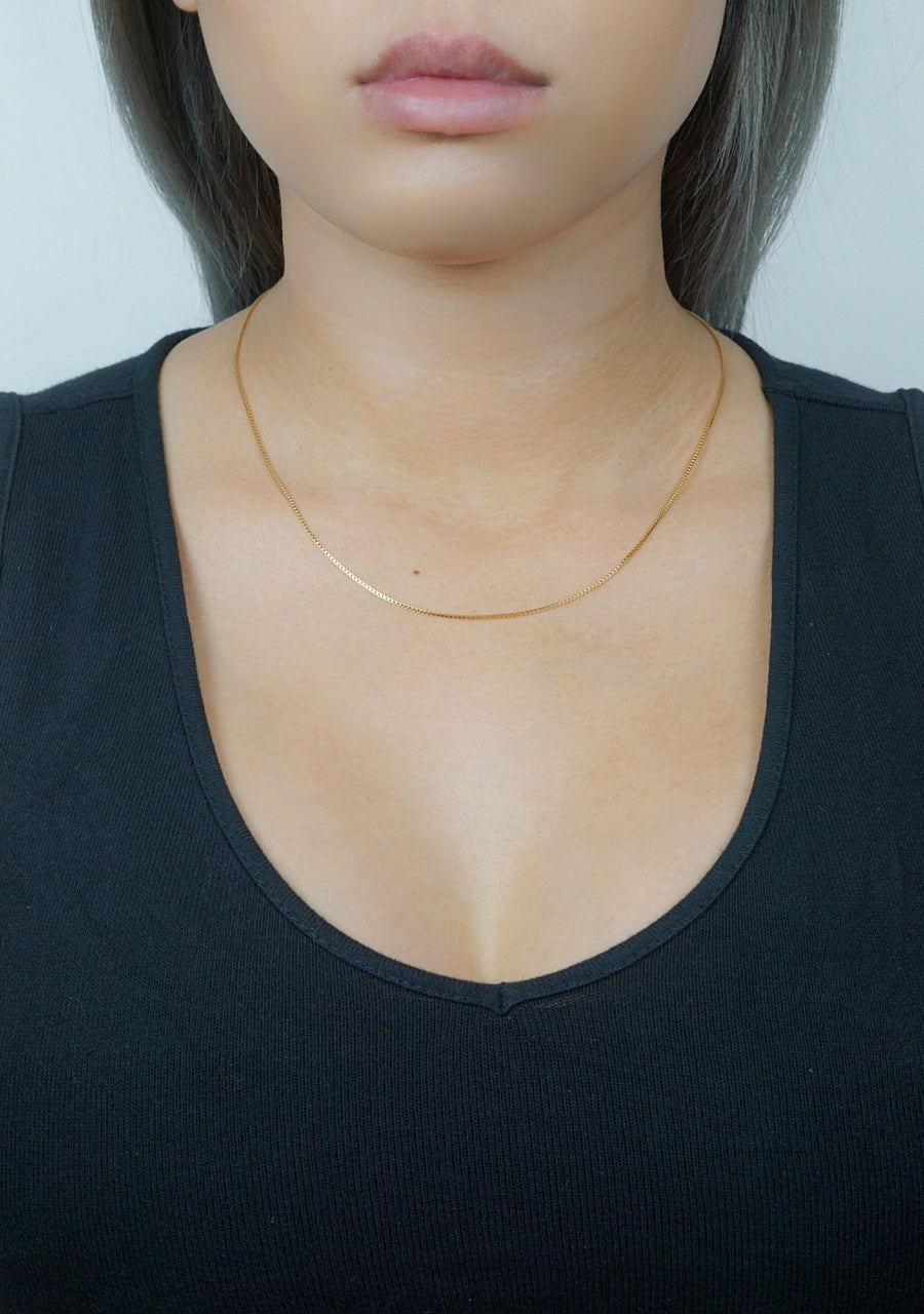 Thin Box Chain Necklace - Dainty & Co. Jewelry