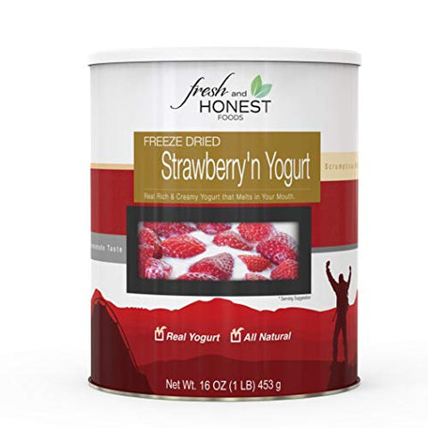 Fresh and Honest Foods Freeze-Dried Strawberry'n Yogurt 16 OZ #10 Can. 25+ Years Shelf Life. Perfect for Emergencies, Food Storage, Survival, Camping, and more.