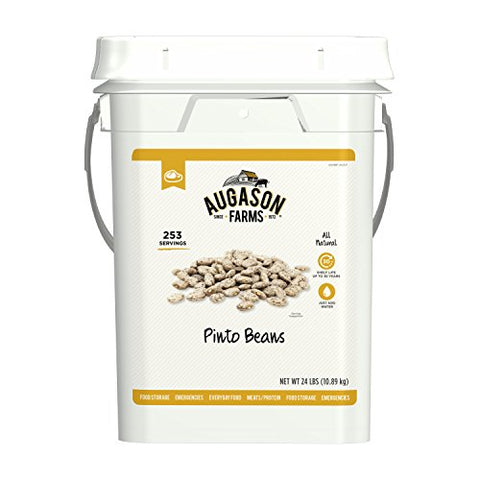 Augason Farms Pinto Beans Emergency Bulk Food Storage 4 Gallon Pail 253 Servings