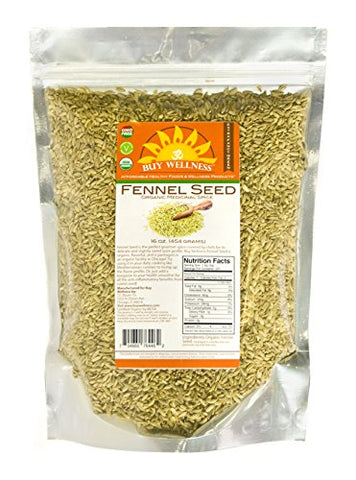 Buy Wellness Organic Fennel Seeds 1 LB Whole Flavorful Highest Quality Fennel seed
