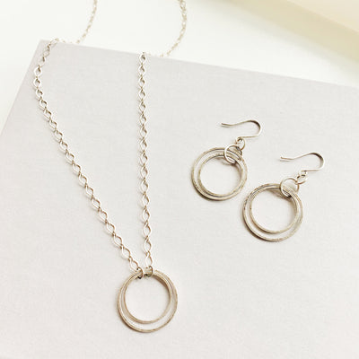 Andromeda Earrings + Necklace Set - Silver