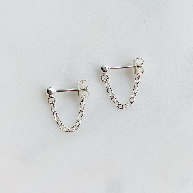 Aria Chain Cuff Earrings - Sterling Silver