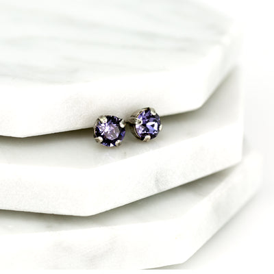Audrey Swarovski Crystal Stud Earrings - Lilac