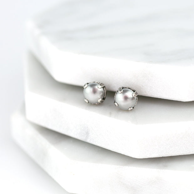 Audrey Pearl Stud Earrings - Silver