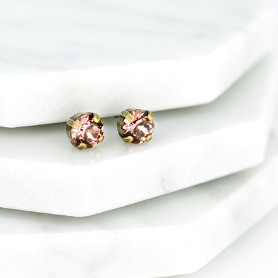 Audrey Swarovski Crystal Stud Earrings - Wild Rose