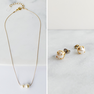 Audrey Pearl Necklace + Studs Set - Gold