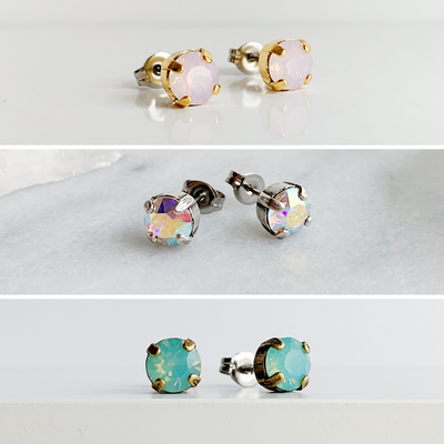 Audrey Swarovski Stud Earring Trio Set - Watercolors