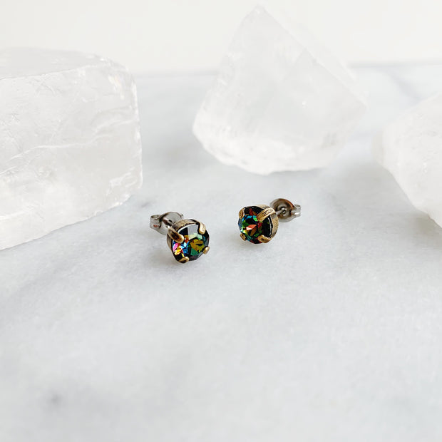Audrey Swarovski Crystal Stud Earrings - Aurora Borealis