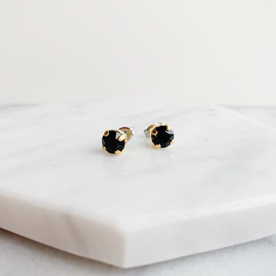 Audrey Swarovski Crystal Stud Earrings - Black and Gold