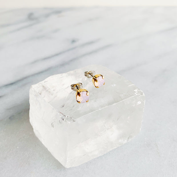 Audrey Swarovski Crystal Stud Earrings - Blush