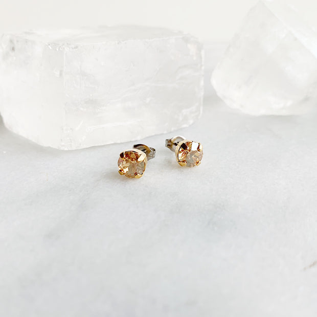 Audrey Swarovski Crystal Stud Earrings - Champagne