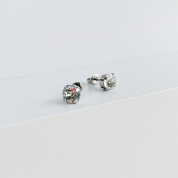 Audrey Swarovski Crystal Stud Earrings - Clear