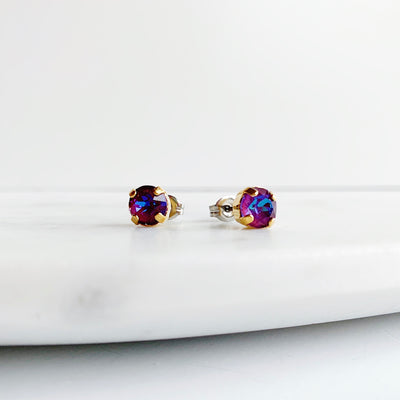 Audrey Swarovski Crystal Stud Earrings - Orchid
