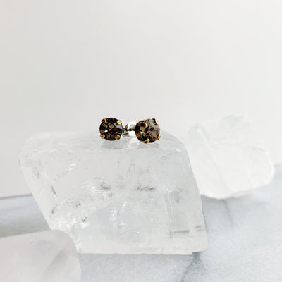 Audrey Swarovski Crystal Stud Earrings - Smoky