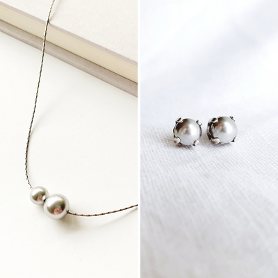 Audrey Pearl Necklace + Studs Set - Silver