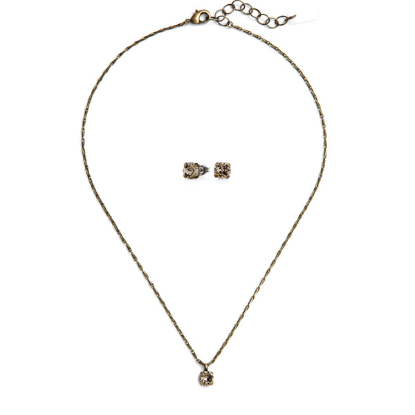 Audrey Swarovski Crystal Jewelry Set - Brass
