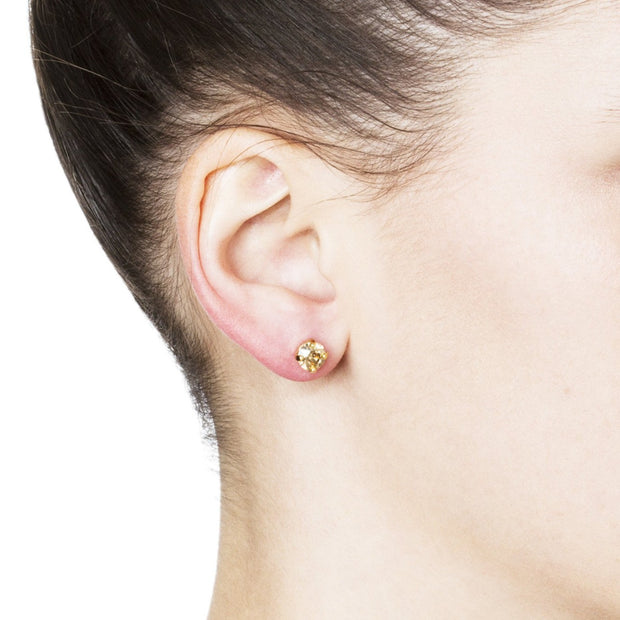 Audrey Swarovski Crystal Stud Earrings - Gold 2