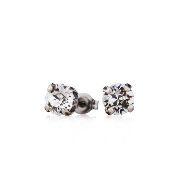 Audrey Swarovski Crystal Stud Earrings - Silver
